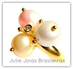 Anel em ouro 750/18k com diamante e pérolas ( 750/18k gold ring with diamond and pearls)