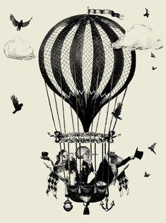 Circus Art - Balloon Ride - Black & White
