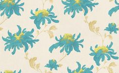Fabulous (31-159) - Julien Macdonald Wallpapers - A large scale tropical floral in a catwalk style with the vibrant colour and metallic detailing. Shown here in Blue and lime green on a cream background - more colours are available. Please request a sample for true colour match. Paste-the-wall product.