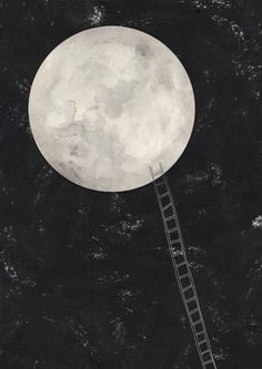 ladder to the moon.  Reminds me of that itali calvino story where when the moon is closest to the horizon a boat full of people sail out to the horizon, put up a ladder to it and climb on, hang out on it until it starts moving away.. Them they climb back down.. But something happens.. :)
