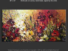 """""""New England Garden"""" - Original Flower Paintings by Lena Karpinsky, http://www.artbylena.com/original-painting/21026/new-england-garden.html"""