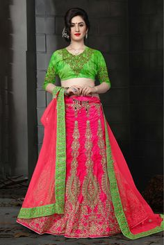 Pink Colour Silk Fabric Party Wear Lehenga Choli Comes with matching blouse. This Lehenga Choli Is crafted with Embroidery,Lace Work This Lehenga Choli Comes with Unstitched Blouse Which Can Be Stitch...