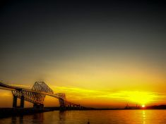 夕暮れの「ブリッジ stock photo