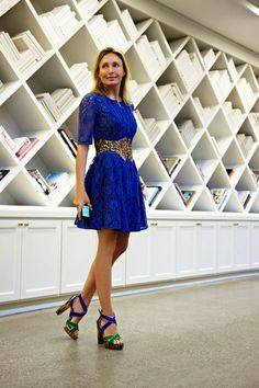 Serving a little lace and texture in my cobalt blue BCBGMAXAZRIA dress, paired with an exotic animal print belt and a strappy sandal from BCBGMAXAZRIA Runway Resort 2012.  -Lubov Azria