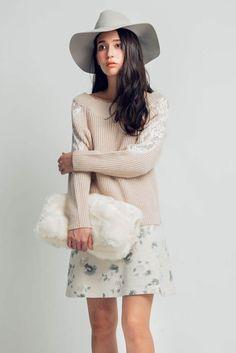 Off-Shoulder Floral Lace Sweater $44