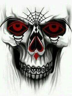 Cool skull pictures tattoos especially gambler tattoo coloring page Skull Tattoo Design, Skull Design, Skull Tattoos, Art Tattoos, Dark Fantasy Art, Dark Art, Skull Stencil, Badass Skulls, Totenkopf Tattoos