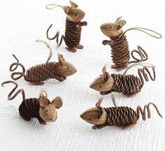 Basteln mit Tannenzapfen – Die 15 schönsten DIY Bastelideen - Tannenzapfen Mäuse