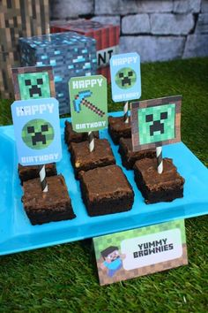 Boy's Minecraft Birthday Party Brownies