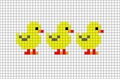Chicks Pixel Art from BrikBook.com #Chicks #Chicken #babychicken #cute #yellow…