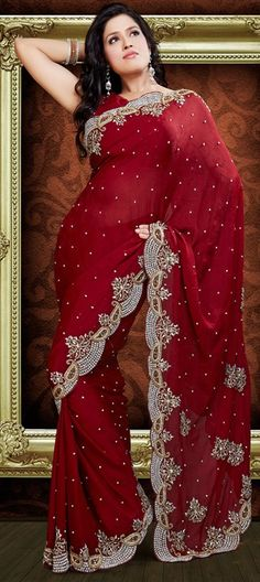 76375: Red and Maroon color family Saree with matching unstitched blouse; I ABSOLUTELY LOVE THIS SAREE; $271