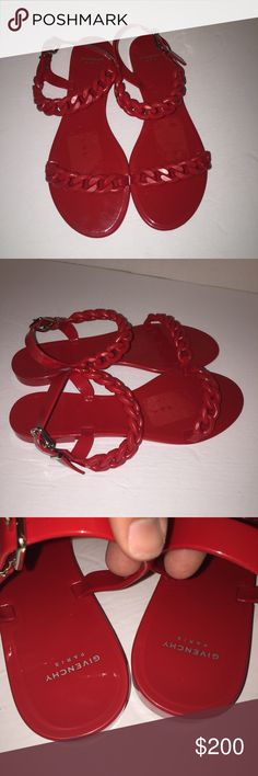 Givenchy Red Neo Chain Jelly Sandals Shoes 10/40 Worn before gently no box color is red jelly size is 40 which I believe is a 10 ... Please don't forget to click share and the like button sorry no trades right now send me a offer Givenchy Shoes Sandals