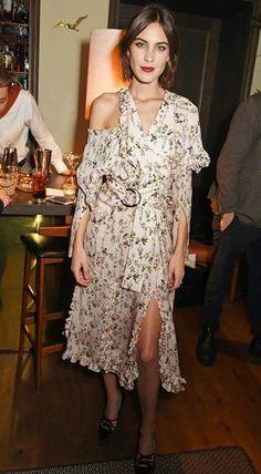 Alexa Chung in a floral print Preen dress
