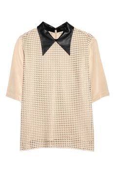 Tibi  Leather-collared crocheted-overlay silk-crepe shirt  $425