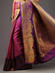 Purple-Pink Kanchipuram Silk Saree Churidar, Anarkali, Lehenga, Indian Silk Sarees, Pure Silk Sarees, Indian Attire, Indian Wear, India Fashion, Asian Fashion