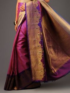 Purple-Pink Kanchipuram Silk Saree