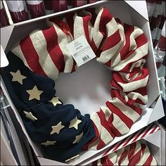 Cut to the quick of Fourth of July home decoration with the aid of this in-store Patriotic Wreath Point-of-Purchase Display. Flag-as-Wreath is ready for. Patriotic Wreath, 4th Of July Wreath, Point Of Purchase, Store Fixtures, Corrugated Metal, Merchandising Displays, Fourth Of July, Retail, Wreaths