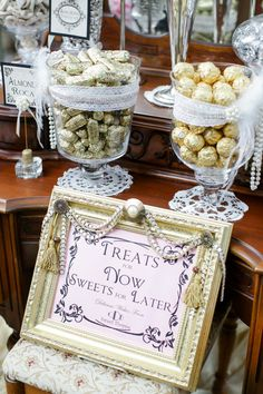 quinn & brent Photo By Jenny Smith & Co. Victorian Dressing Table furniture into a candy buffet bar for great gatsby old hollywood wedding, treats, sweets, candy apothecary jars, gold silver white pink, my grandmother's dresser!