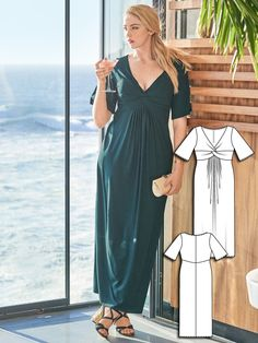 Burda plus size maxi dress sewing pattern 134C-062016-B
