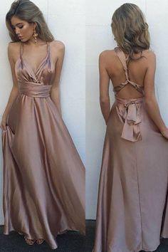 Simple V-Neck Sleeveless Floor Length Criss-Cross Straps Blush Prom Dress with Pleats - Thumbnail 1