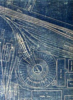 Western Engine House No. 3 blueprint, for the round house and yard. Pennsylvania Railroad, Altoona, PA.