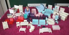 56pc Vintage Plastic Doll House Furniture Mixed Lot Wannatoy Superior +
