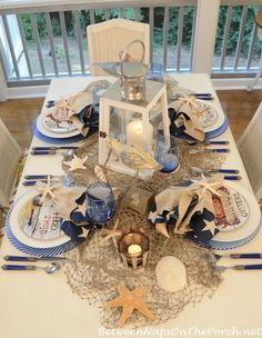 Nautical Table Setting Tablescape With David Carter Brown Driftwood Dishware!!! Bebe'!!! Love the net...it adds texture!!!