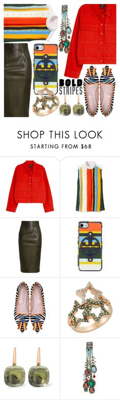"""""""Bold Stripes: Cell phone case and blouse"""" by ladygroovenyc ❤ liked on Polyvore featuring Tory Burch, Amanda Wakeley, Bee Goddess, Pomellato and N°21"""