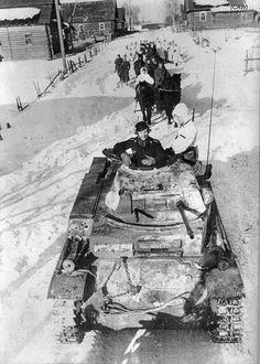 Panzerkampfwagen II Ausf. F (Sd.Kfz. 121), pulling troops on skis.  | Flickr - Photo Sharing!