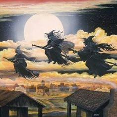 Blåkulla, witches flying in the night, full moon, brooms, Salem, coven, sisters