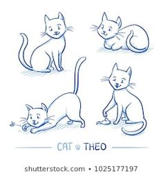 Cute cartoon male cat in sitting and lying positions, playing with toy. Hand drawn doodle vector illustration - buy this stock vector on Shutterstock & find other images. Cat And Dog Drawing, Back Drawing, Cartoon Man, Cute Cartoon, Cat Outline Images, Cat Position, Chat Male, Cute Cat Illustration, Cat Pose