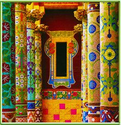 Mosaic columns inside Antoni Gaudi's Palau Guell, Barcelona, Spain Art Nouveau, Art Deco, Art And Architecture, Architecture Details, Barcelona Architecture, Columns Inside, Antonio Gaudi, Parc Guell, The Places Youll Go