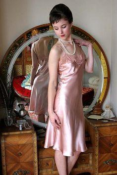 Mary Green 'Midnight in Satin' Pink Silk Slip – $132.00