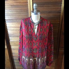 Jones New York boho tunic Boho style vibrant red and multi tone flows tunic, easy care fabric, size M, preowned worn twice. Prefect condition. Jones of New York Jones New York Tops Tunics