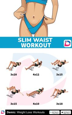 Slim Waist Workout - Be fit - Fitness Tipps Fitness Workouts, Gym Workout Videos, Abs Workout Routines, Fitness Workout For Women, Hard Ab Workouts, Fitness Motivation, Fitness Routines, Female Abs Workout, Core Workout Women