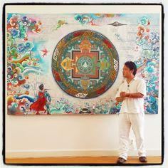 "Art for the House ~ ""BRILLIANCE OF ENLIGHTENED AWARENESS"" Aerodynamic Tibetan Contemporary Art by Tashi Norbu Tibetan Art, Tibetan Buddhism, Buddhist Art, Vajrayana Buddhism, Mudras, Funky Art, Hippie Chic, Deities, New Art"