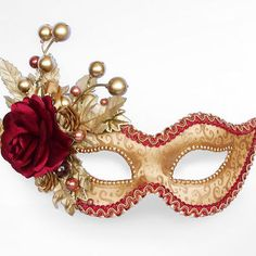 Autumn Themed Burgundy And Gold Masquerade Mask -  Classical Venetian Mask With Roses, Leaves And Branches Decoration