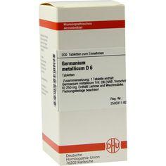 GERMANIUM metallicum D 6 Tabletten:   Packungsinhalt: 200 St Tabletten PZN: 04218492 Hersteller: DHU-Arzneimittel GmbH & Co. KG Preis:…