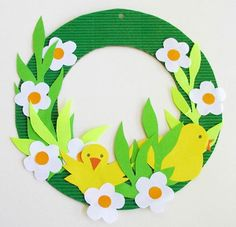 Bright Yellow and White Paper Easter-Spring Wreath for Kids with Birds and Flower Shapes