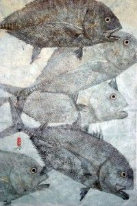 Gyotaku fish print, a popular art form In Hawaii that uses freshly caught fish, aquatic life, and plants to create imprints directly on paper or fabric Popular Art, Arte Popular, Illustrations, Illustration Art, Fish Print, Fish Design, Art Plastique, Teaching Art, Art Techniques