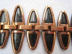 Vintage Modernist Matisse Copper Black Enamel Nefertitti Bracelet Earrings   eBay Sold for $ 36