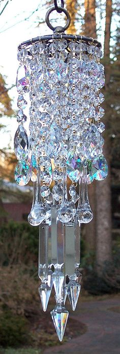 Rustic Antique Brass Deco AB Crystal Wind Chime