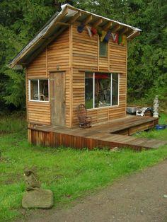 Pallet wood cabin.