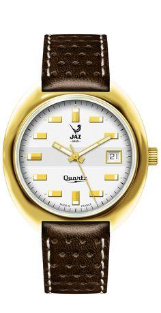 Montre vintage homme - JAZISTOR - réédition catalogue 1970-71 - JZ 111-5 - bracelet imprimé cuir marron surpiqué d'un fil blanc, cadran blanc et boitier en métal couleur or - Boutique Officielle JAZ - un savoir-faire horloger made in France depuis 1919.