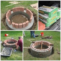 How To Build A Weekend Backyard Brick Fire Pit Project Homesteading - The Homestead Survival . Outdoor Projects, Diy Projects, Outdoor Decor, Easy Fire Pit, Fire Pit Materials, Building Materials, Fire Pit Designs, Homestead Survival, Survival Tips