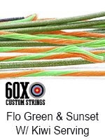 fluorescent green and sunset with kiwi serving custom bow string