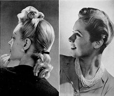 1950s Hairstyles, Ponytail Hairstyles, Vintage Hairstyles, Summer Hairstyles, Victory Rolls, Vintage Mode, Vintage Style, Vintage Fashion, Pin Up
