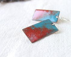 Enamel earrings teal blue orange dangle artisan jewelry by alery, $32.00