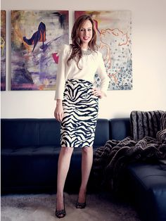 zebra. perfection pencil skirt always a classic and the shaped shoulders on the blouse are the latest in current trending!