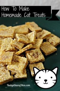 "CAT TREATS | 6 Ounces Undrained tuna 1 Cup Cornmeal 1 Cup Flour 1/3 Cup of Water What to Do Preheat the oven to 350 Place all the ingredients in a bowl — until a dough is made Roll out until pretty thin – 1/4 inch and place on parchment paper lined cookie sheet Bake for 20 minutes Break up sheet of ""treat"" into bite size piece"