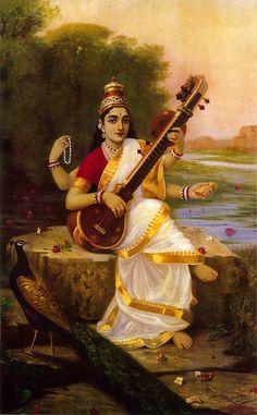 Goddess Saraswathi(Unframed Canvas Prints) -Raja Ravi Varma Painting